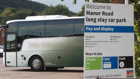 A coach parked at Manor Road Car Park