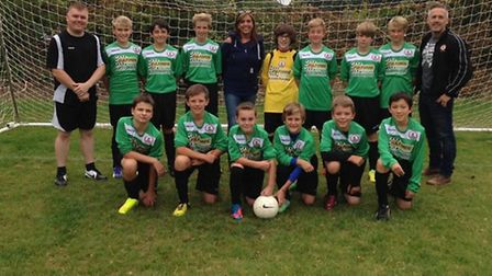 The Sidmouth Town Junior Vikings Under-13 Raiders wearing the new kit sponsored by Fulfords. Mandy L