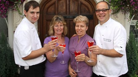 Scott Horn,Linda Withecombe,Annette and Andy Witheridge celebrate 15 years at The Salty Monk in Sidf