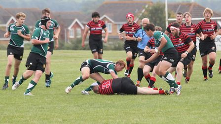 Sidmouth Colts action from game with Cullompton