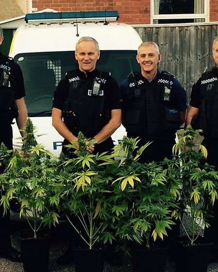 Sergeant Andy Squires, PC Jim Tyrell, PCSO Steve Blanchford-Cox and PC Dave Wallace with the drugs h