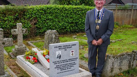 Sidmouth RBL chairman Dave O'Connor at the newly restored grave