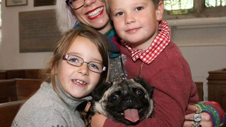 Catherine Rayment with her children Harry five and eight year old Sophia brought their dog Molly alo