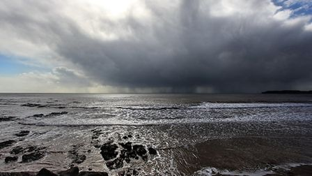 Ian Williams snapped a shot of the huge, dark clouds approaching Sidmouth