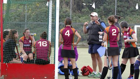 Half time team talk at the Sidmouth and Ottery Ladies 1st team match against Firebrands. Ref shsp 86