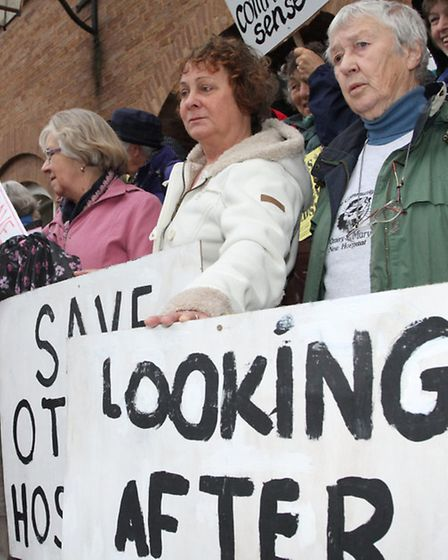 Ottery protesters arrived at Devon County Council HQ at County Hall on Monday afternoon. Ref sho 116