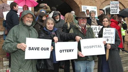 Ottery protesters arrived at Devon County Council HQ at County Hall on Monday afternoon. Ref sho 117