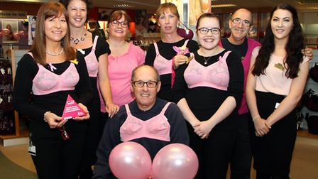 Staff at Fields of Sidmouth donned something pink in aid of Breast Cancer. Ref shs 8192-44-14AW Pict