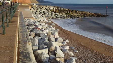 Shingle has been washed away from the beach near to the York steps exposing the protective rocks bel