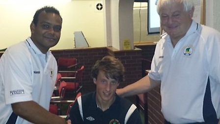 Sixteen-year-old jamie newberry signs South West Peninsula League forms for Sidmouth Town