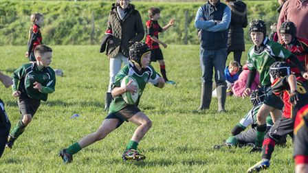 Sidmouth Under-10 action versus Cullompton