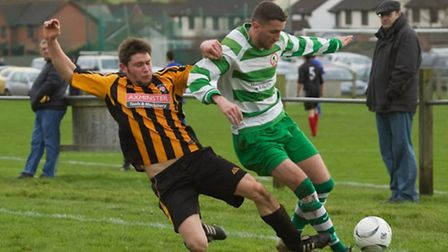 Action from the Seaton Town 6-3 win over Axminster Town at Acland Park, Feniton