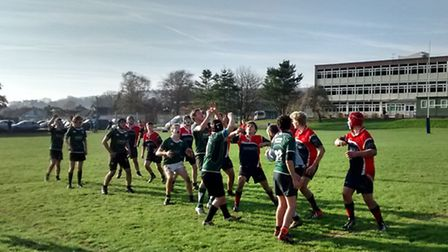 Sidmouth Under-15 rugby action v Wiveliscombe