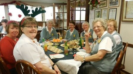 Shirley Rose - disguised as a reindeer! With friends, Jean Green, Pat Ashton-Pritchard, Maureen Lam