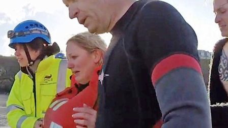 Jennifer Grant after her rescue by the RNLI and coastguard crews