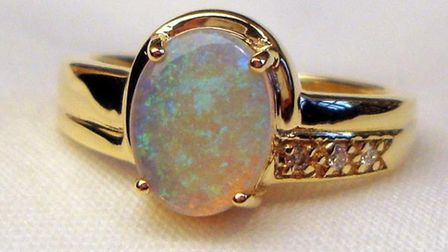 One of the opal and diamond rings taken from JBM Jewellers in Sidmouth.