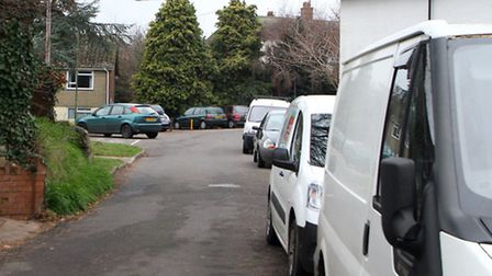 Vehicles parked along Arcot Park in Sidmouth. Ref shs 4857-02-15AW. Picture: Alex Walton