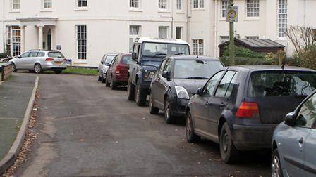 Vehicles parked along Lymebourne Park in Sidmouth. Ref shs 4849-02-15AW. Picture: Alex Walton