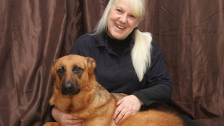 Denise Davy with her six year old German Shepherd Missie who has won a Canine Hero Award. Ref sho 53