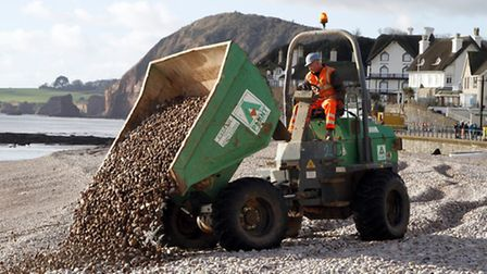 Start of the work to restore the shingle on Sidmouth beach. Ref shs 0666-02-15TI. Picture: Terry Ife
