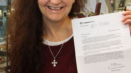 A happy Anne Barratt of Fitzalan Gems who received a BEM Award in the New Year's Honours list. Ref m