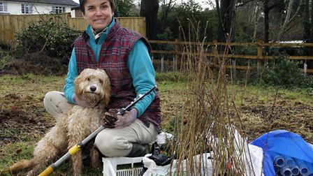 Volunteer Co-Ordinator of Friends Of The Byes Kati Fitzhenry at the wildlife hedge planting event. R
