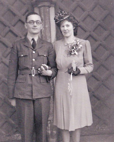 On their wedding day in Ottery St Mary in 1946.