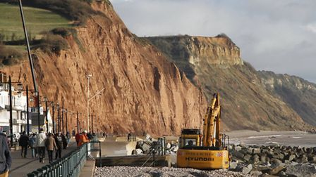 Start of the work to restore the shingle on Sidmouth beach. Ref shs 0654-02-15TI. Picture: Terry Ife