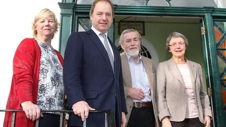 Minister Hugo Swire is pictured at Kennaway House with Di Bowerman, Dr Michael James and Ffiona Eave