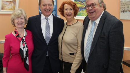 Councillors Frances Newth, Christine Drew and Peter Sullivan are pictured with MP Hugo Swire at a fu