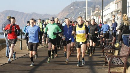 Competitors at the start of the Four Trigs Race on Sidmouth Esplanade. Ref shsp 2711-07-15TI. Pictur