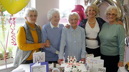 Dorothy Luxton celebrates her 100th birthday with Sandra Dekle, Jill Bamber, Margaret Greenhalgh and