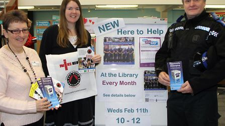 Sidmouth library hosts a monthly police surgery. Carol Pentacost from the library with Janet Quinn f