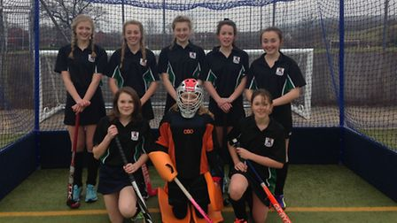 Sidmouth and Ottery Hockey Club girls' Under-14 team who won both their matches at their latest Devo