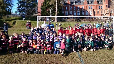 Sidmouth's Under-8 rugby festival players
