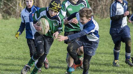 Sidmouth Under-10s action against Bridport