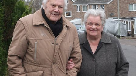 Slade Close residents Raymond and Evelyn Hearn lwaiting to catch the bus this week. Ref sho 7140-06-