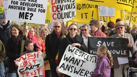 Protesters on Sidmouth seafront in 2012. Photo by Simon Horn. Ref shs 9491-45-12SH