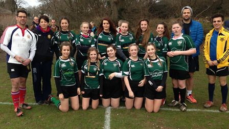 Sidmouth Under-15 girls rugby team before their meeting with Kingsbridge