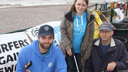 Surfers Against Sewage held a litter pick last year. Area representative, Ross Curwen with helpers J