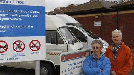 Marlene Coachman and Helen Gibson-West with their camper vans. Ref shs 3484-08-15TI. Picture: Terry