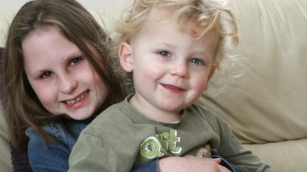 Siblings Hope and Jossph Baker aged eight and two pictured at home this week after their seagull ord