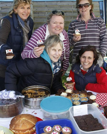 Buffie Cavin,Sharon Thorne,Diana Woodhouse,Sue Cockayne and Heather Bagwell made cakes for the world