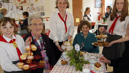 Tanya Trevena serves tea with Chloe Beard,Christina Clapp,Hazel Clapp,Sarah Turner and Ivor Turner a