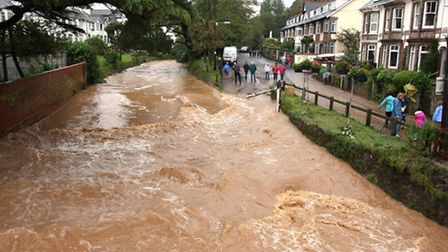 The Ford in Sidmouth during the floods on Saturday. Photo by Terry Ife ref shs 8169-28-12TI