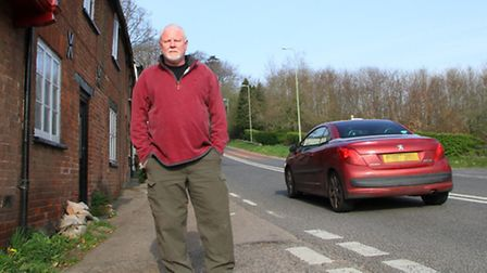 Paul Johnston of The Old Post Office, Fairmile, is appealing to motorists to slow down. Ref sho 3361
