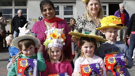 Judges of the easter bonnet parade at Sidmouth primary school,Neena Martin and Julie Andrews with th