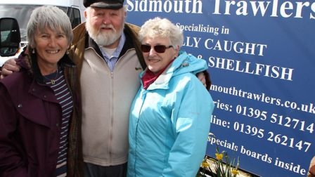 Stan Bagwell of Sidmouth Trawlers with his wife Mary and Christine Hardy who has written a book abou