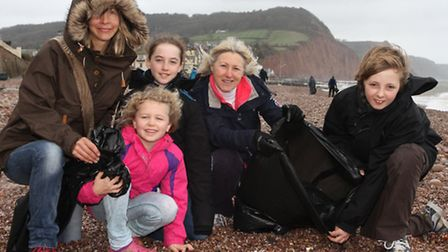 Braving the weather and helping out with the Surfers Against Sewage beach clean on Sunday were Julie