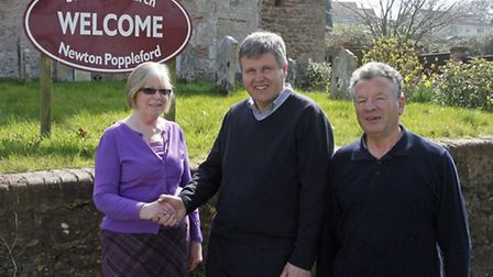 Mike Gunn with church wardens June Smith and Haylor Lass outside St Luke's church. Ref shs 5365-15-1
